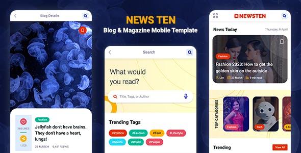 Download Newsten - Blog & Magazine Mobile HTML Template