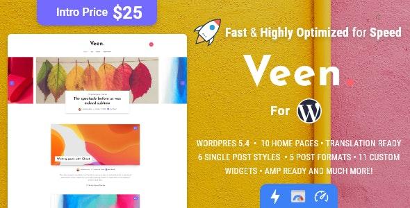 Veen - Minimal & Lightweight Blog for WordPress - Personal Blog / Magazine