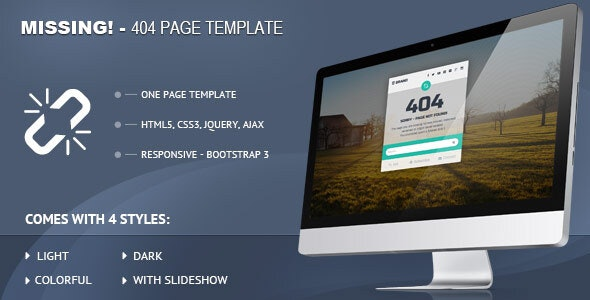 Missing - 404 Responsive Page Template - 404 Pages Specialty Pages