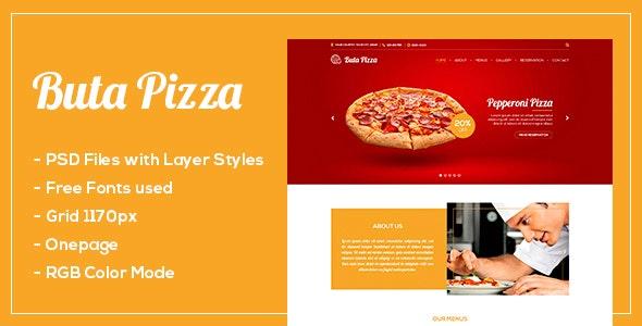 Buta Pizza - One page PSD - Restaurants & Cafes Entertainment