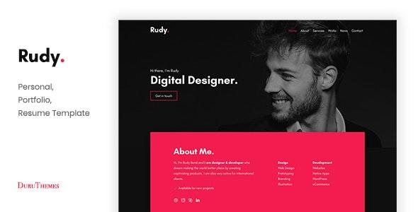 Rudy - Creative Personal Portfolio Template - Personal Site Templates