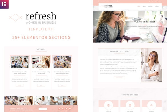Refresh - Women in Business Elementor Template Kit - Business & Services Elementor