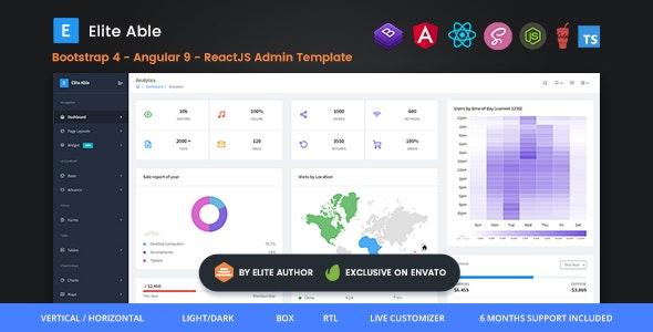 Elite Able - Bootstrap 4, Angular 9 & React JS Admin Template - Admin Templates Site Templates