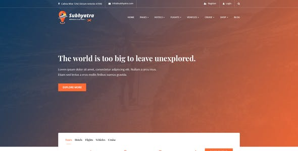 Subhyatra - Travel Agency PSD Template