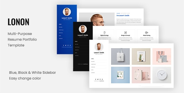 Lonon - Resume Portfolio Template - Virtual Business Card Personal