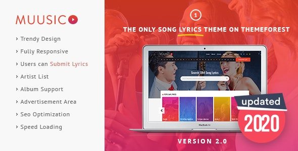 Muusico - Song Lyrics WordPress Music Theme - Music and Bands Entertainment