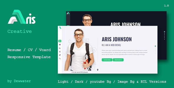 Aris Resume / CV / Portfolio / vCard Template - Virtual Business Card Personal