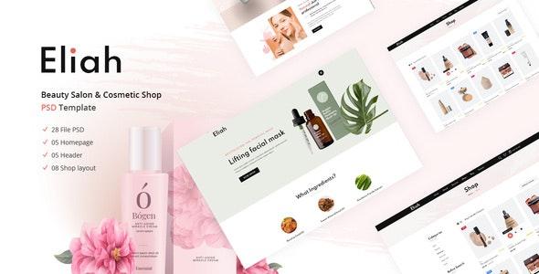 Eliah   Beauty Salon & Cosmetic Shop PSD Template - Health & Beauty Retail