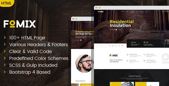 Fomix - House Insulation & Energy Efficiency HTML template - Business Corporate
