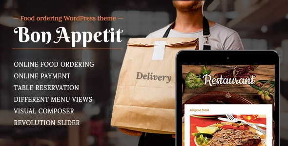 Food ordering WordPress theme for Restaurant - Bon Appetit - Restaurants & Cafes Entertainment