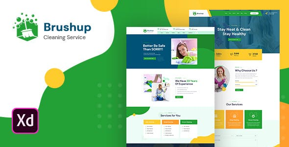 Brushup - Cleaning Company Adobe XD Template
