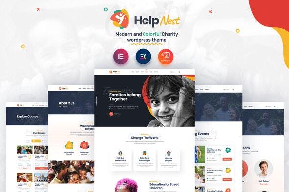 Helpnest - Charity Elementor Template Kit - Non-Profit & Religion Elementor