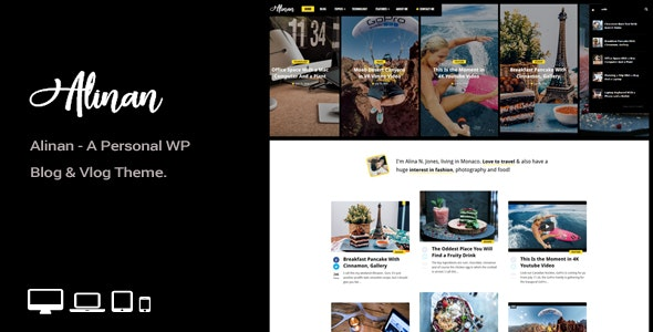 Alinan WP - A Personal WordPress Blog and Vlog Theme - Personal Blog / Magazine