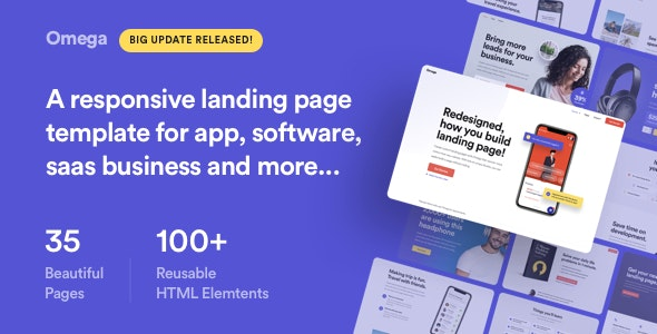 Omega - Landing Page Template for SaaS, Startup & Agency - Technology Site Templates