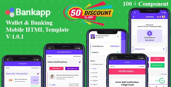Bankapp - Wallet & Banking HTML Mobile Template With RTL - Mobile Site Templates