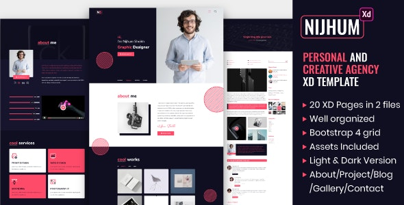 Nijhum - Personal and Creative Agency XD Template - Creative Adobe XD