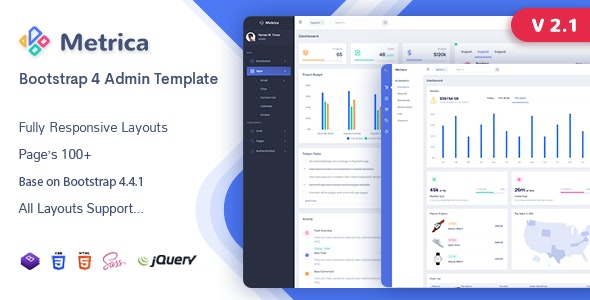 Metrica - Admin & Dashboard Template - Admin Templates Site Templates