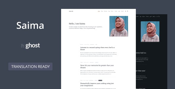 Download Saima - Ghost Theme for Personal or Professional Blog