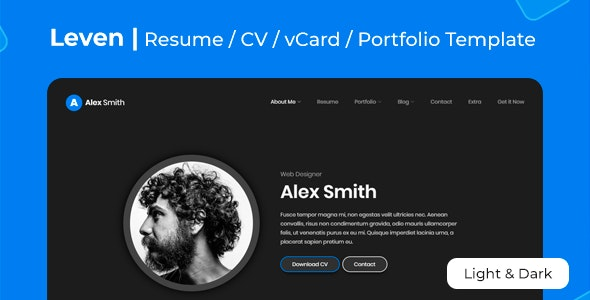 Leven | CV Resume Template - Virtual Business Card Personal