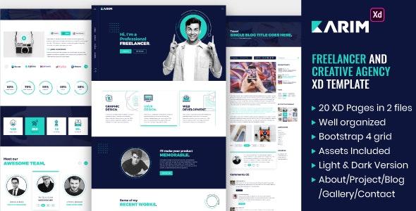 Karim - Freelancer and Creative Agency XD Template - Creative Adobe XD