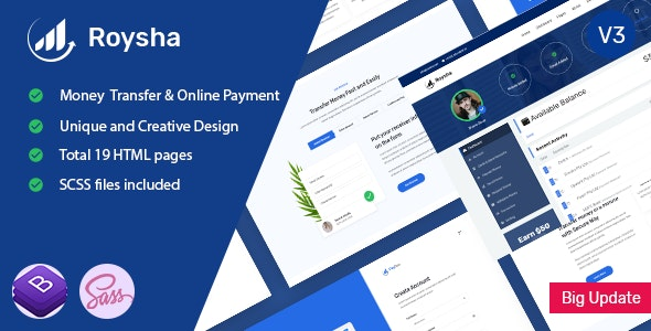 Roysha - Money Transfer and Online Payments HTML Template - Technology Site Templates