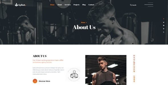 Gyfeet - Gym & Fitness PSD Template