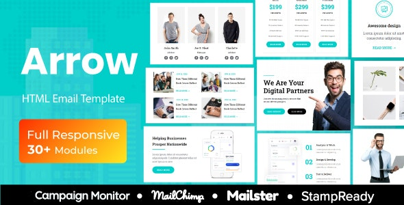 Arrow - Multipurpose Responsive Email Template 30+ Modules Mailchimp - Newsletters Email Templates