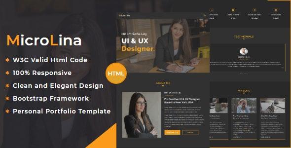 MicroLina - Responsive One Page Portfolio Template - Personal Site Templates