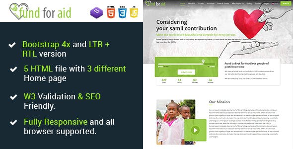 Download Fund For Aid - Charity Nonprofit One Page HTML5 Template