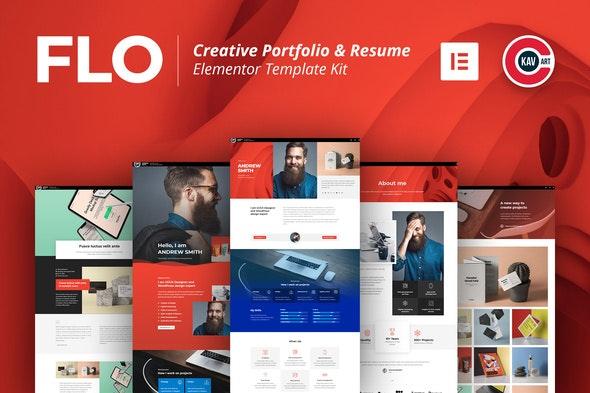 FLO - Creative Portfolio & Resume Template Kit - Personal & CV Elementor