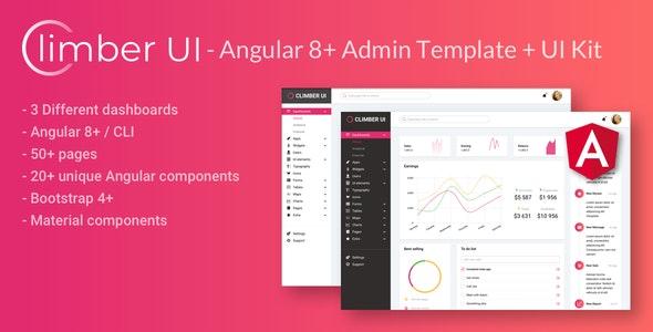 Climber UI - Angular 9+ admin template + UI Kit - Admin Templates Site Templates