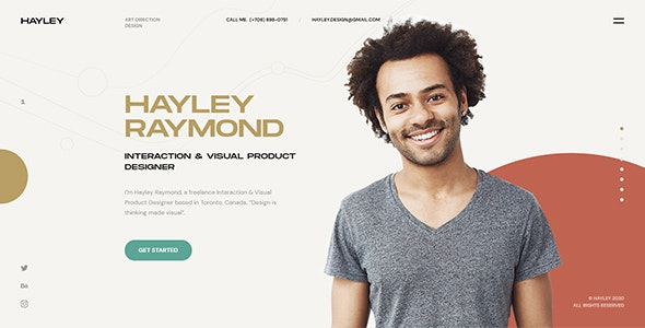 HAYLEY - Creative Personal CV/Resume HTML Template - Virtual Business Card Personal