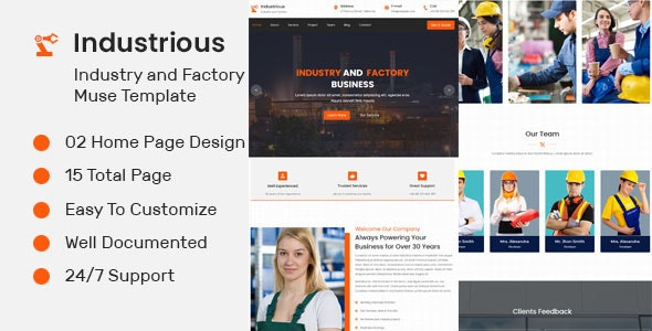 Industrious- Industry And Factory Muse Template - Corporate Muse Templates