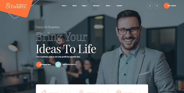 iTsource - IT Solutions & Services Website Design PSD Template