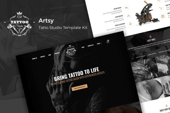 Artsy - Tattoo Studio Template Kit - Fashion & Beauty Elementor