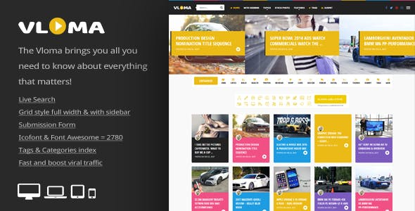 Vloma Grid - A Responsive WordPress Video Blog Theme by An-Themes