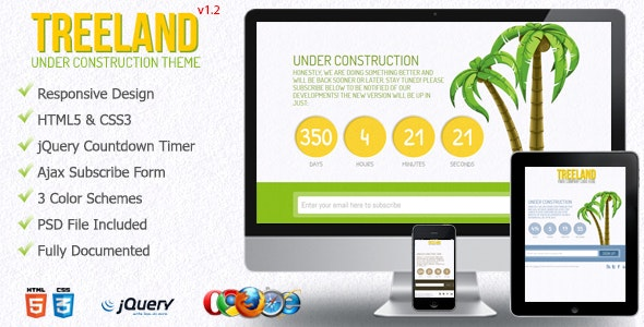 Treeland - Coming Soon Template - Under Construction Specialty Pages