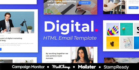 Digital - 30+ Modules Responsive Email Template + Mailchimp Editor + Campaign Monitor & Mailster