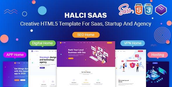 HalciSaas - Creative HTML5 Template for Saas, Startup & Agency