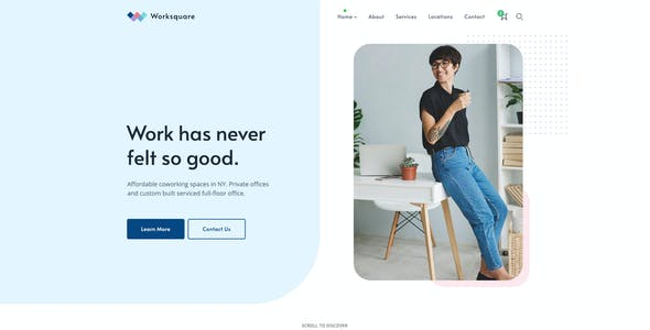 Worksquare - Creative Coworking and Office Space PSD Template