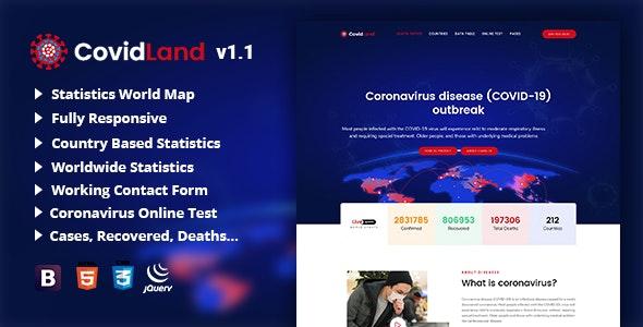 CovidLand   COVID-19 Corona Virus Medical Prevention Template - Nonprofit Site Templates