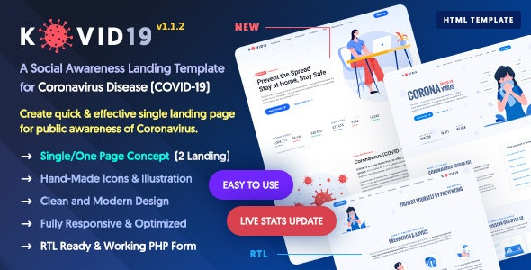 Kovid19 Coronavirus Covid 19 Prevention Awareness Html Template By Softnio