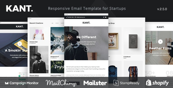 Kant - Responsive Email for Startups: 50+ Sections + MailChimp + Mailster + Shopify Notifications - Email Templates Marketing