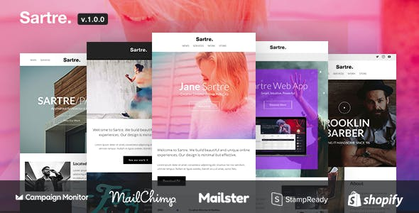 Sartre - Responsive Email Toolkit: 120+ Sections +  MailChimp + Mailster + Shopify Notifications