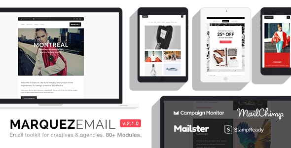 Marquez - Multipurpose Responsive Email: 80+ Sections + StampReady Builder + MailChimp + Mailster - Email Templates Marketing