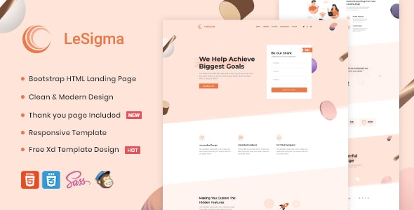 LeSigma - Isometric Startup HTML Landing Page - Corporate Site Templates