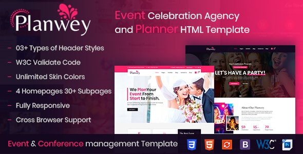 Planwey Event Planner Celebrations Management Html Template By Themetechmount