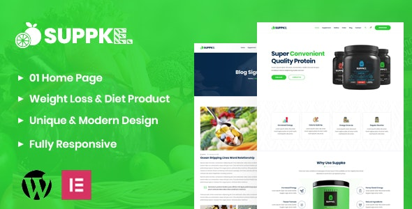 Suppke - Health Supplement WordPress Theme - Health & Beauty Retail