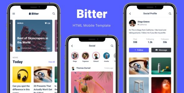 Bitter - HTML Mobile Template - Mobile Site Templates