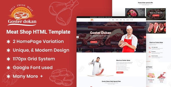 Goster Dokan - Meat Shop HTML5 Template - Food Retail